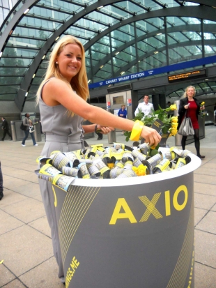 Giving away roses for Axio at Canary Wharf